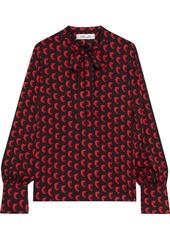 Diane Von Furstenberg Woman Esperanza Pussy-bow Printed Silk-blend Crepe Blouse Black