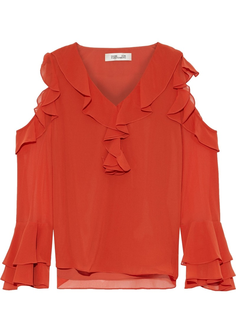 Diane Von Furstenberg Woman Essie Cold-shoulder Ruffled Chiffon Top Brick