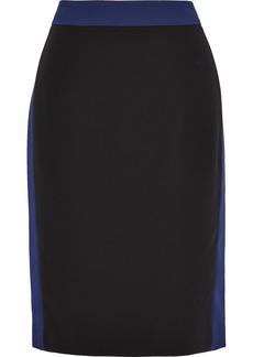 Diane Von Furstenberg Woman Esteem Striped Stretch-crepe Pencil Skirt Midnight Blue