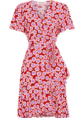 Diane Von Furstenberg Woman Estrella Ruffled Floral-print Crepe Mini Wrap Dress Red