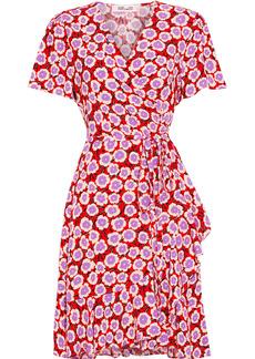 Diane Von Furstenberg Woman Estrella Ruffled Floral-print Crepe Mini Wrap Dress Red