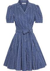 Diane Von Furstenberg Woman Evalina Pleated Printed Cotton-poplin Mini Wrap Dress Royal Blue