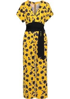 Diane Von Furstenberg Woman Evangeline Wrap-effect Silk-jersey Jumpsuit Yellow