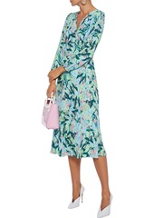 Diane Von Furstenberg Woman Evelyn Reversible Printed Crepe Midi Wrap Dress Light Blue