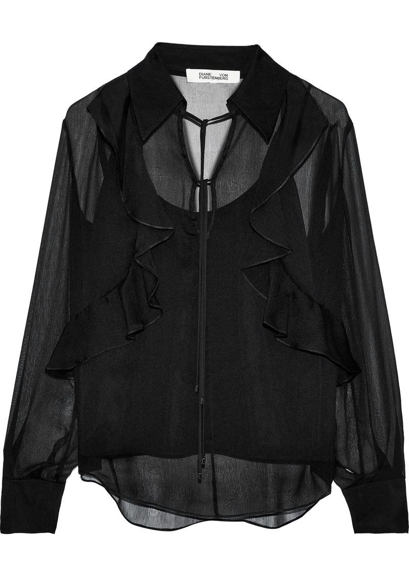 Diane Von Furstenberg Woman Everleigh Bow-detailed Ruffled Silk-georgette Blouse Black