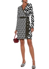 Diane Von Furstenberg Woman Everly Jacquard-knit Mini Wrap Dress Black