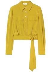 Diane Von Furstenberg Woman Everlynn Cropped Belted Silk Crepe De Chine Shirt Marigold