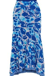 Diane Von Furstenberg Woman Ezlyn Reversible Printed Stretch-mesh Midi Skirt Royal Blue