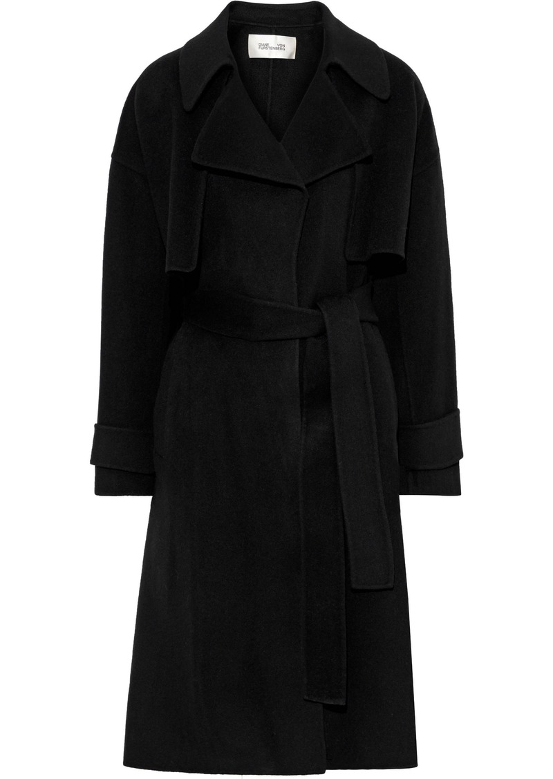 Diane Von Furstenberg Woman Fann Belted Wool-felt Coat Black