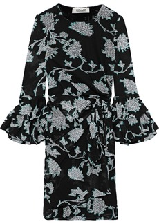 Diane Von Furstenberg Woman Faridah Floral-print Mesh Mini Wrap Dress Black