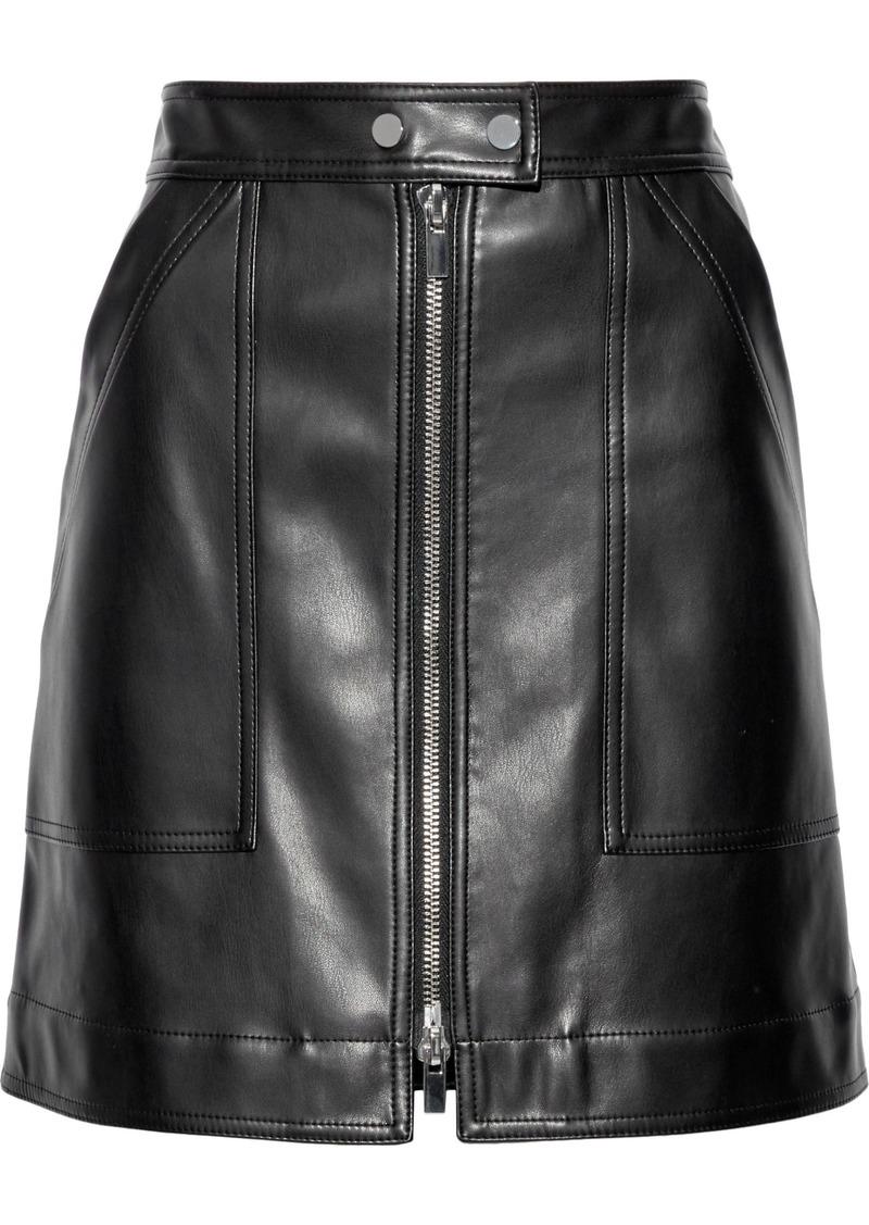Diane Von Furstenberg Woman Faux Leather Mini Skirt Black