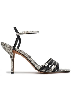 Diane Von Furstenberg Woman Federica Smooth And Snake-effect Leather Sandals Animal Print