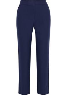 Diane Von Furstenberg Woman Fia Stretch-cotton Straight-leg Pants Navy