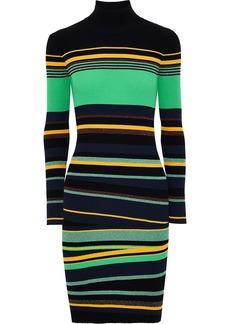 Diane Von Furstenberg Woman Finn Metallic Striped Ribbed-knit Mini Dress Multicolor