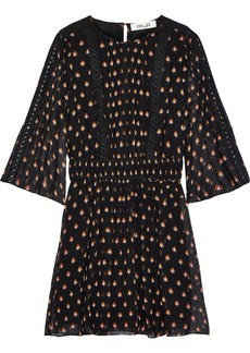 Diane Von Furstenberg Woman Flora Printed Cotton And Silk-blend Georgette Mini Dress Black