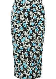 Diane Von Furstenberg Woman Floral-print Cady Pencil Skirt Turquoise
