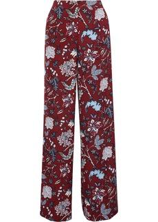 Diane Von Furstenberg Woman Floral-print Cady Wide-leg Pants Claret