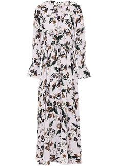 Diane Von Furstenberg Woman Floral-print Silk Crepe De Chine Maxi Dress Lavender