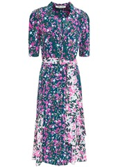 Diane Von Furstenberg Woman Floral-print Silk Crepe De Chine Shirt Dress Petrol