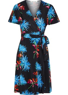 Diane Von Furstenberg Woman Floral-print Silk-jersey Wrap Dress Black