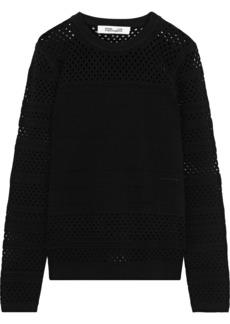 Diane Von Furstenberg Woman Fontanne Pointelle-knit Sweater Black
