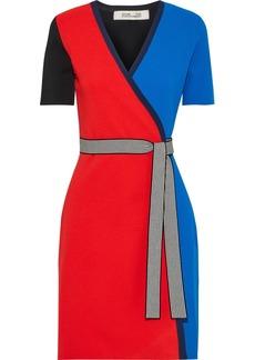Diane Von Furstenberg Woman Francine Color-block Stretch-knit Wrap Dress Multicolor