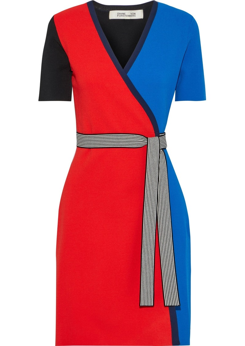 Diane Von Furstenberg Woman Francine Color-block Stretch-knit Wrap Dress Multicolor
