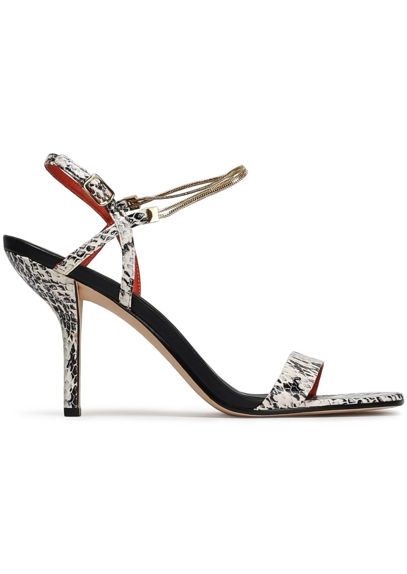 Diane Von Furstenberg Woman Frankie Embellished Snake-effect Leather Sandals Off-white