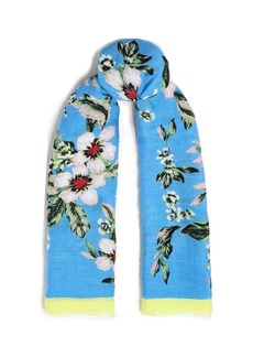Diane Von Furstenberg Woman Frayed Floral-print Linen-blend Gauze Scarf Light Blue