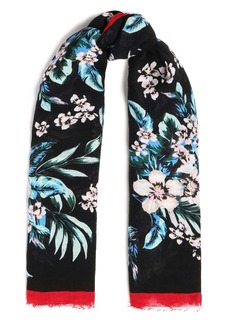 Diane Von Furstenberg Woman Frayed Floral-print Linen-blend Gauze Scarf Black