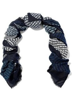 Diane Von Furstenberg Woman Frayed Printed Modal And Cashmere-blend Scarf Blue