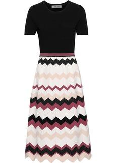 Diane Von Furstenberg Woman Gaia Flared Stretch And Intarsia-knit Dress Black