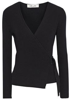 Diane Von Furstenberg Woman Gardenia Ribbed Wool-blend Wrap Top Black