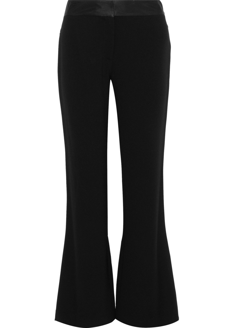 Diane Von Furstenberg Woman Garnett Satin-trimmed Crepe Flared Pants Black