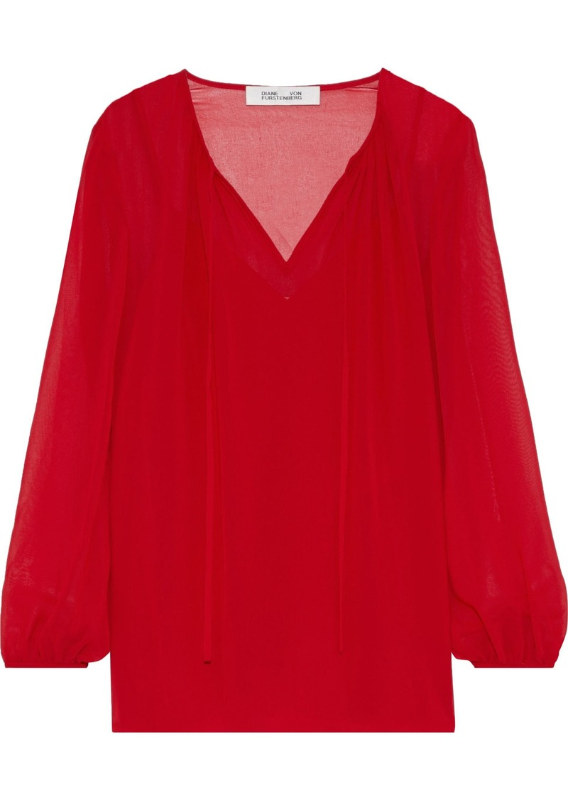 Diane Von Furstenberg Woman Gathered Chiffon Blouse Crimson