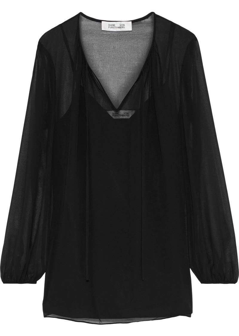 Diane Von Furstenberg Woman Gathered Chiffon Blouse Black
