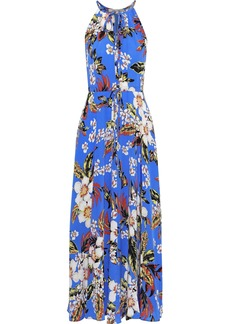 Diane Von Furstenberg Woman Gathered Floral-print Silk Crepe De Chine Maxi Dress Blue
