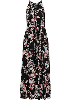 Diane Von Furstenberg Woman Gathered Floral-print Silk Crepe De Chine Maxi Dress Black
