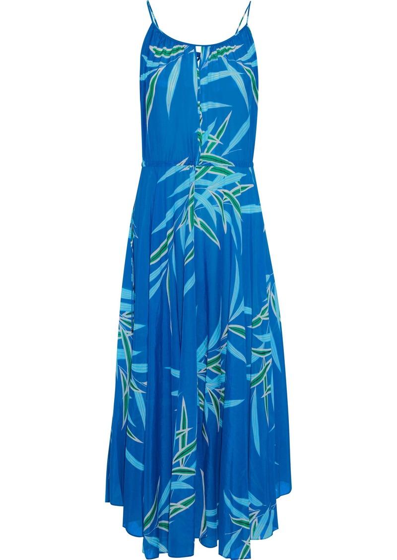 Dvf West Diane Von Furstenberg Woman Gathered Printed Cotton And Silk-blend Midi Dress Blue