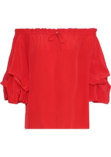 Diane Von Furstenberg Woman Georganne Off-the-shoulder Ruffled Silk Top Tomato Red