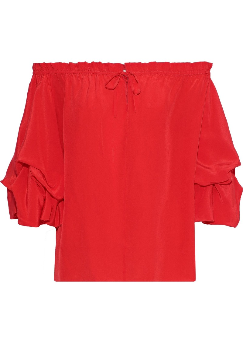 Diane Von Furstenberg Woman Georganne Off-the-shoulder Ruffled Silk Top Tomato Red