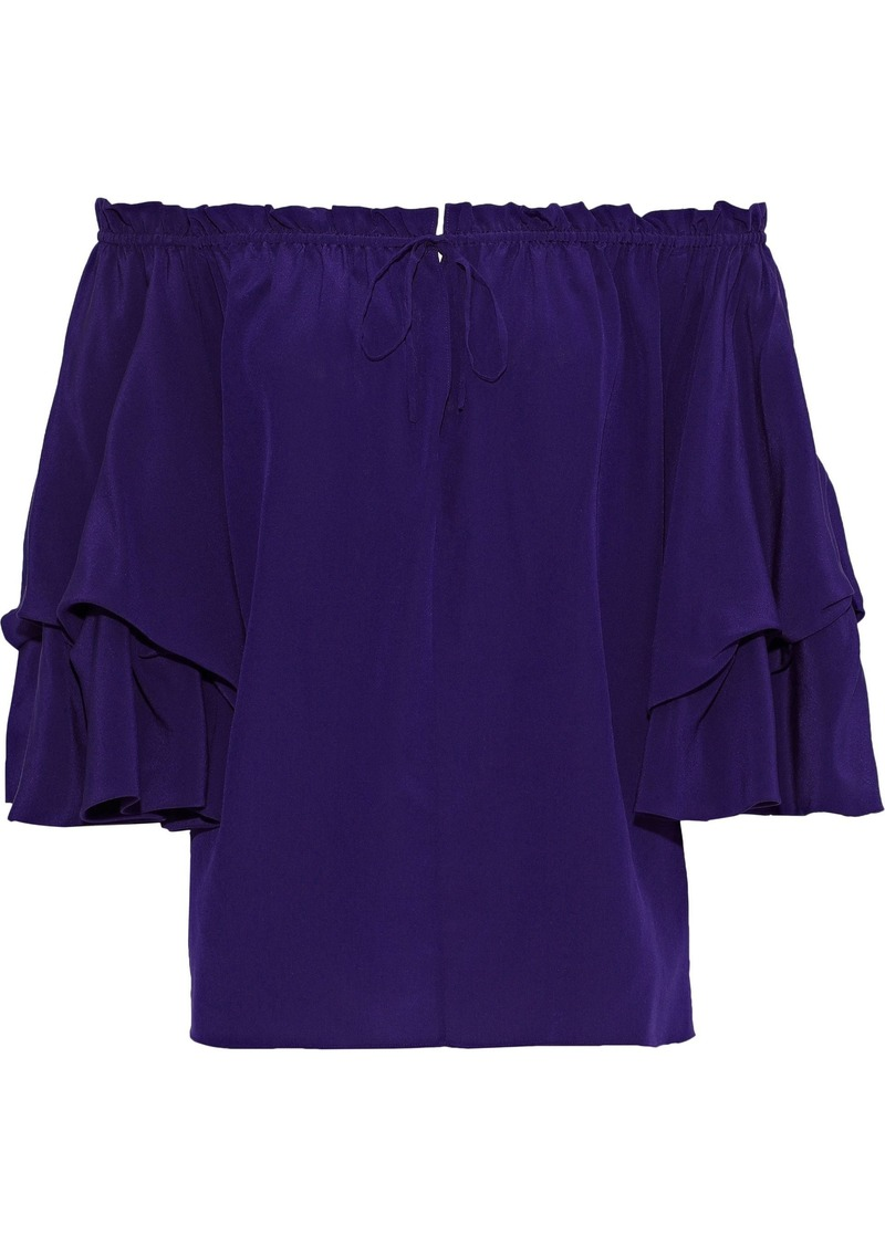 Diane Von Furstenberg Woman Georganne Off-the-shoulder Ruffled Silk Top Violet