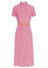 Diane Von Furstenberg Woman Georgia Polka-dot Silk Crepe De Chine Midi Shirt Dress Pink