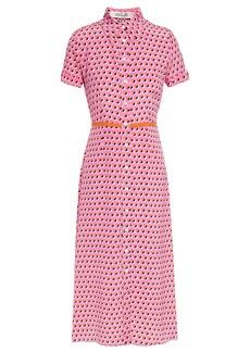Diane Von Furstenberg Woman Georgia Polka-dot Silk Crepe De Chine Midi Shirt Dress Pink