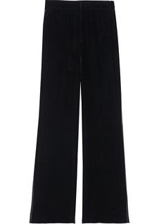 Diane Von Furstenberg Woman Georgina Satin-trimmed Velvet Wide-leg Pants Black