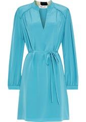Diane Von Furstenberg Woman Glenda Gathered Silk Crepe De Chine Mini Dress Turquoise