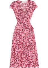 Diane Von Furstenberg Woman Goldie Printed Crepe Wrap Dress Tomato Red