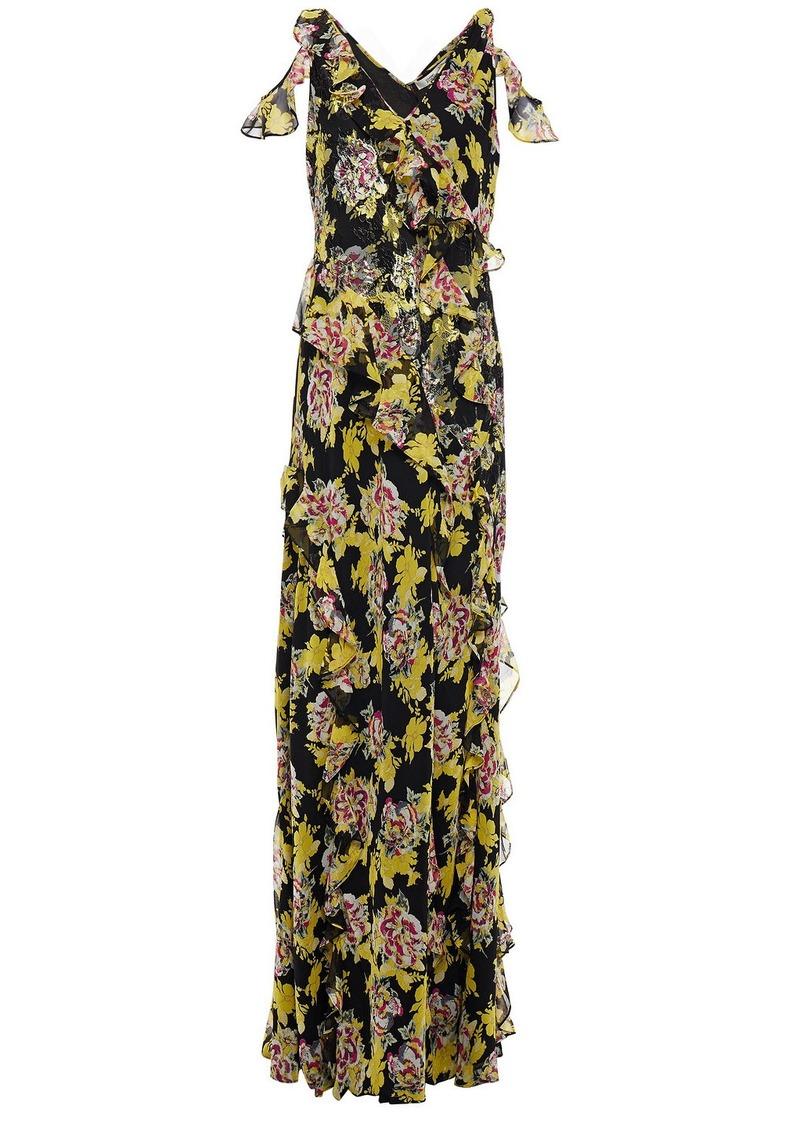 Diane Von Furstenberg Woman Wrap-effect Ruffled Floral-print Lace And Silk-georgette Gown Black