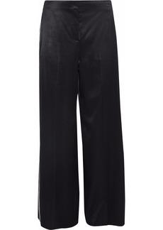 Diane Von Furstenberg Woman Grosgrain-trimmed Satin Wide-leg Pants Black