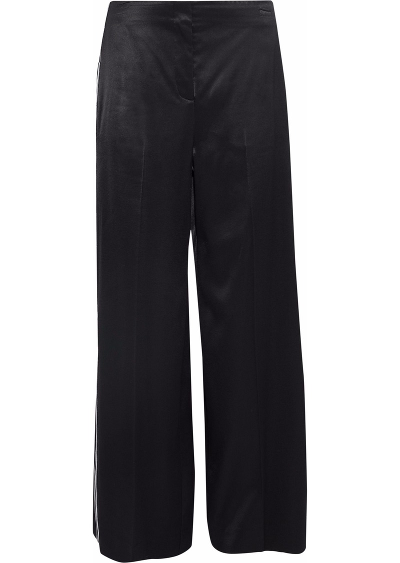 Diane Von Furstenberg Woman Grosgrain-trimmed Satin Wide-leg Pants Black